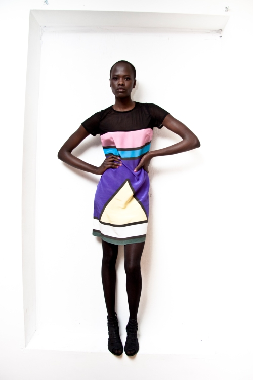 Ndebele Wall Art Silk Dress (A) by Chinedesign
