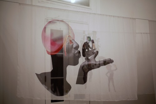 """Get Me Bodied"" by Shannon Lewis. Silk Chiffon Fabric Installation."