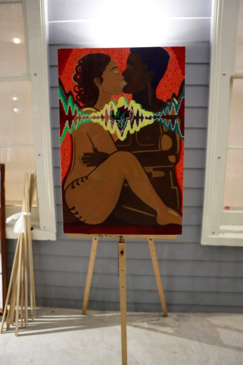 Artwork by Veronica Puentes in the outdoor pop-up shop